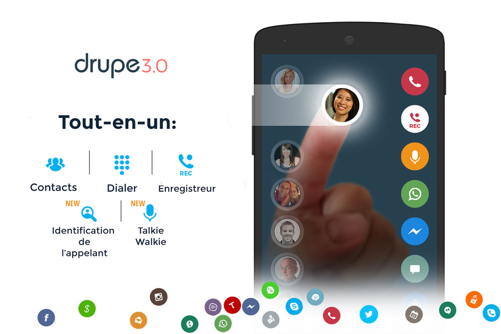 Drupe application communication appels contacts