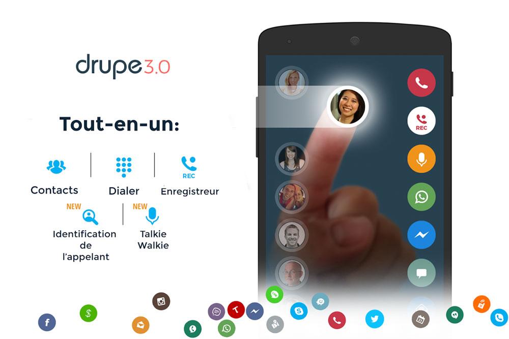 Drupe application communication appels contacts