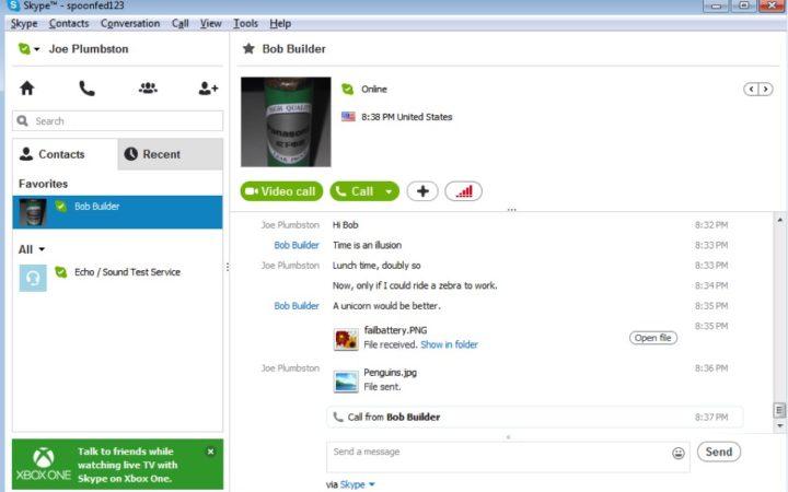 Exemple de session de chat sur Skype