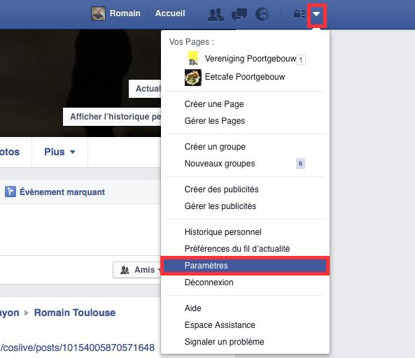 Le menu Paramètres de Facebook