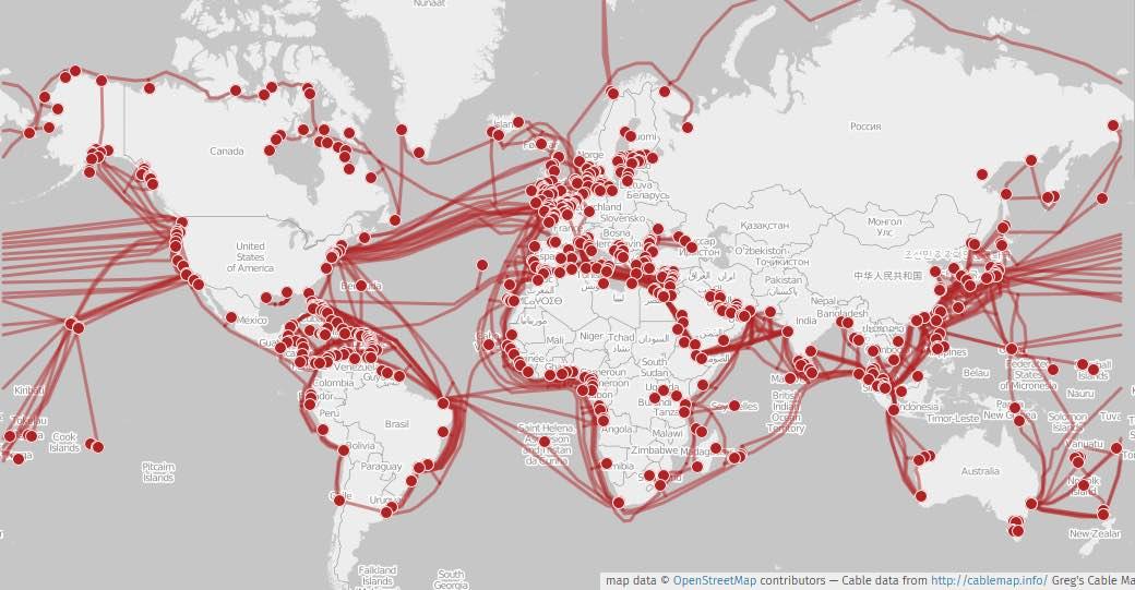 Carte des câbles sous-marins en activité