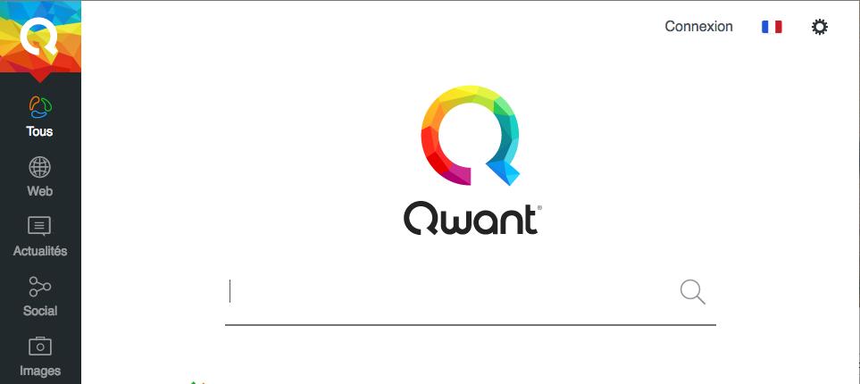 La page d'accueil de Qwant