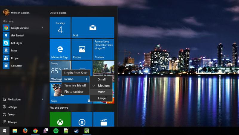 Le menu démarrer de Windows 10