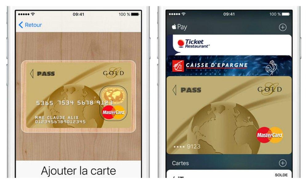 Apple Pay ajouter carte
