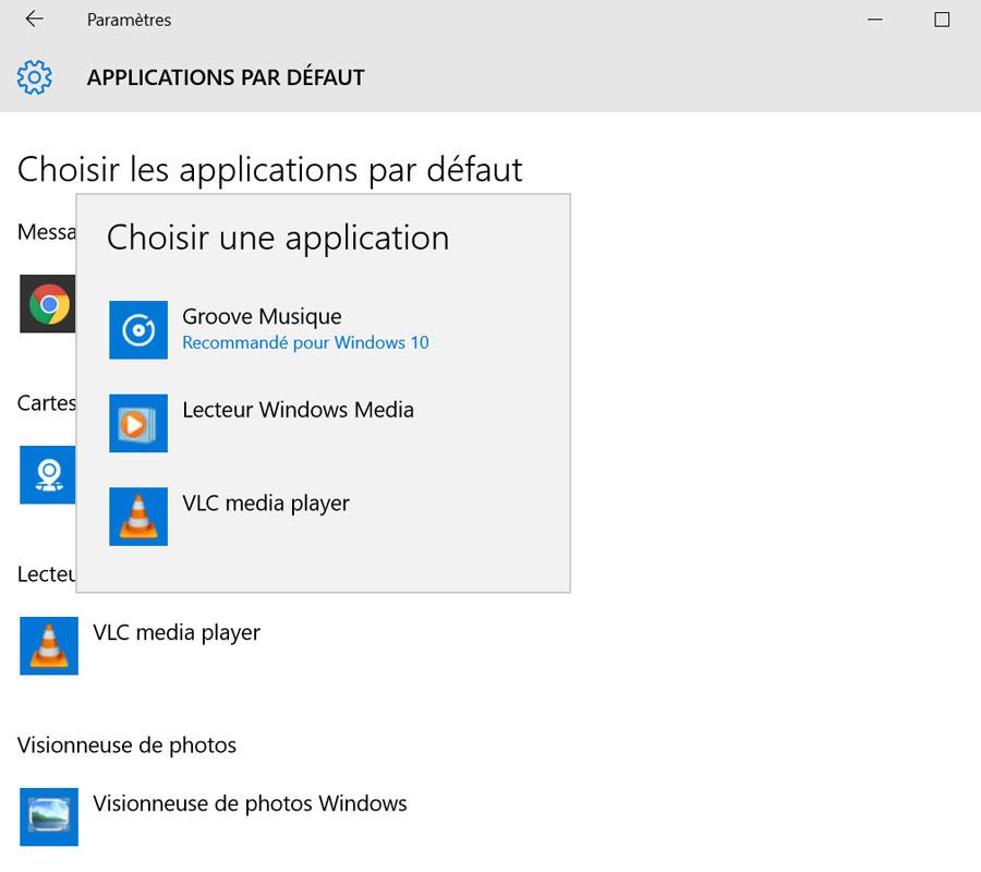applications defaut windows 10