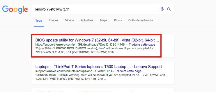 Recherchez la mise à jour du BIOS dans Google