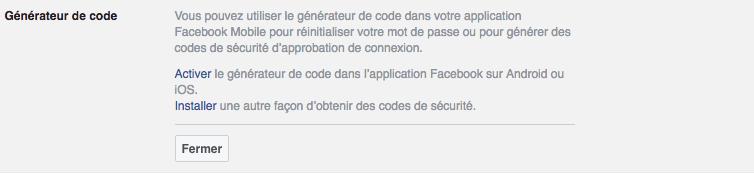 Facebook parametres generateur de code : comment activer la double authentification pour plus de sécurité