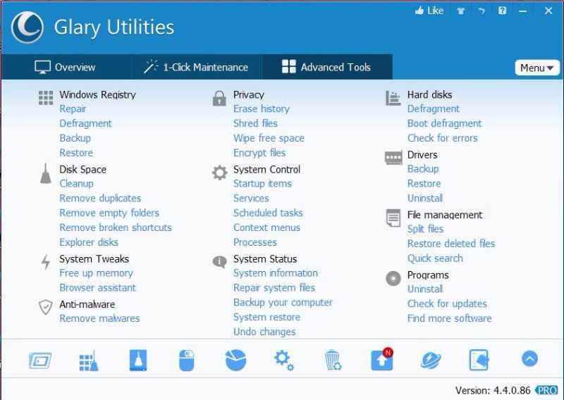 glary utilities - Les meilleurs logiciels gratuits pour nettoyer votre PC