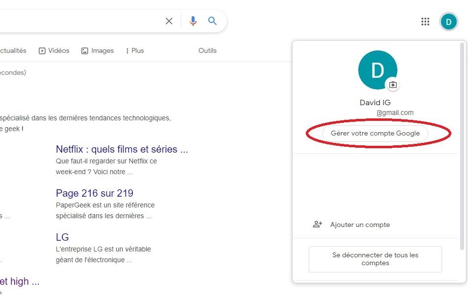 Gérer compte Gmail