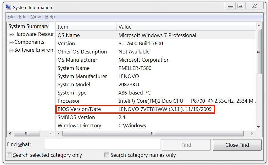 La ligne BIOS dans msinfo32