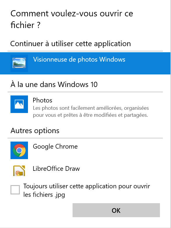 ouvrir fichier visionneuse photo windows 10