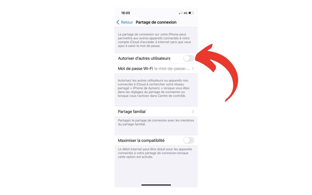 Configurer partage de connexion iPhone 2
