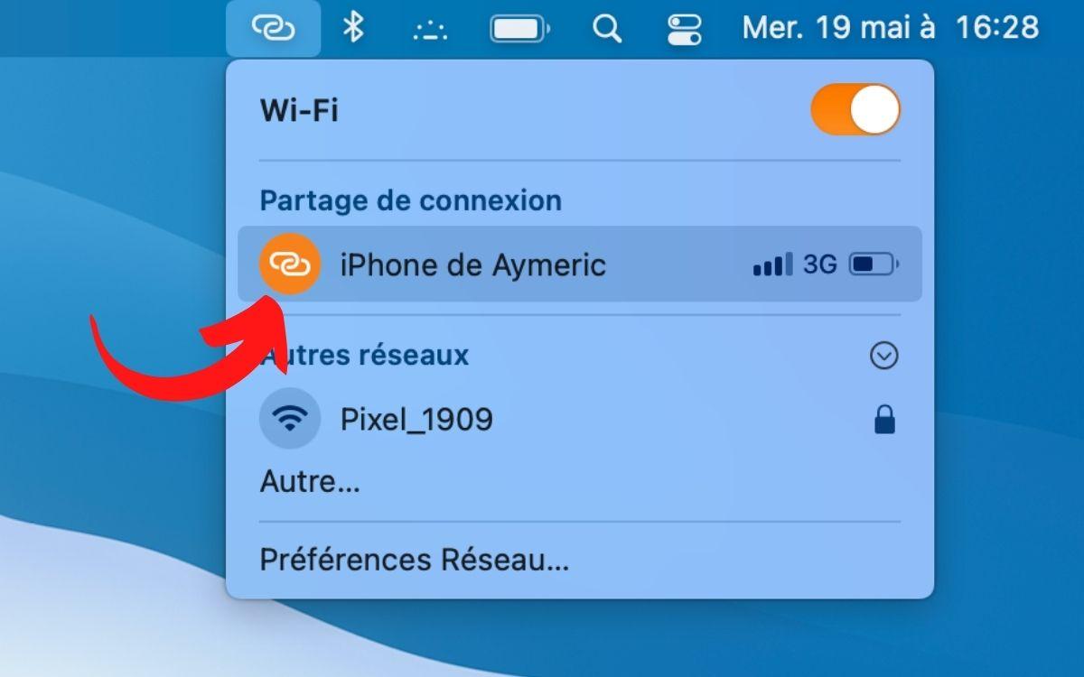 Configurer partage de connexion iPhone 3