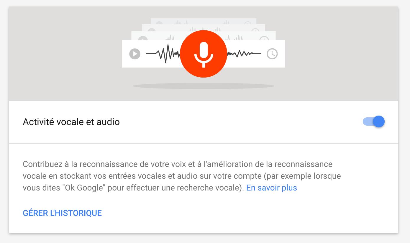 Google Activité vocale et Audio