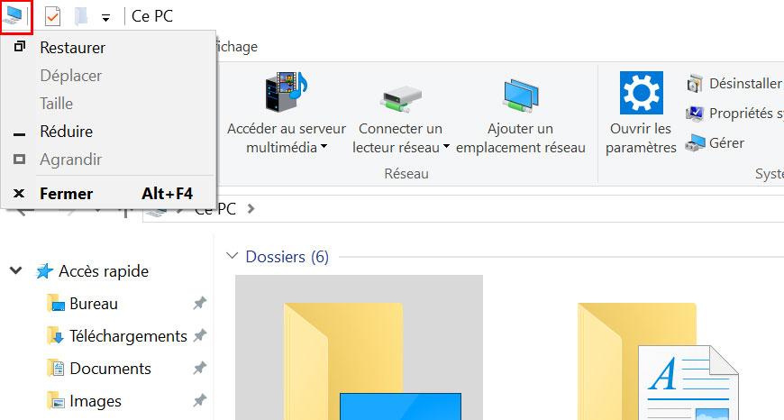 bouton cache windows