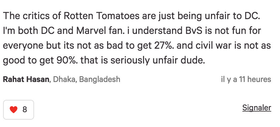 Rotten tomatoes commentaire DC anti pro-marvel