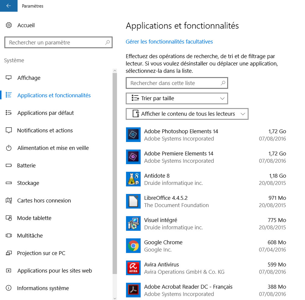 windows 10 application fonctionnalite