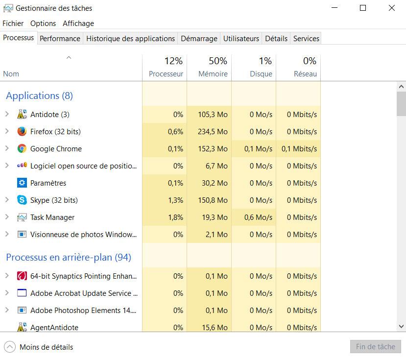 windows 10 processus