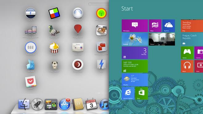 À gauche l'app launcher de macOS, à droite, celui de Windows 10