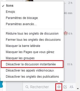 Désactiver discussion instantanée Facebook