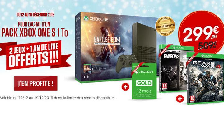 Bon plan Micromania : pack Xbox One S 1 To + 2 jeux + 1 an de live à 299€