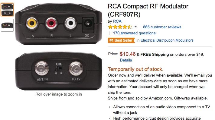 Exemple de convertisseur RCA vers RF