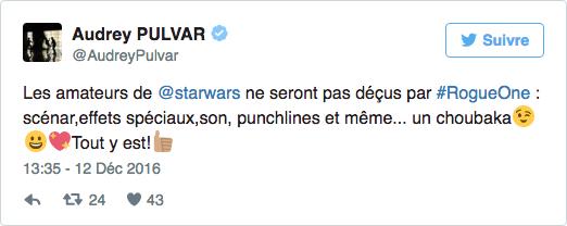 audrey pulvar star wars rogue one twitter