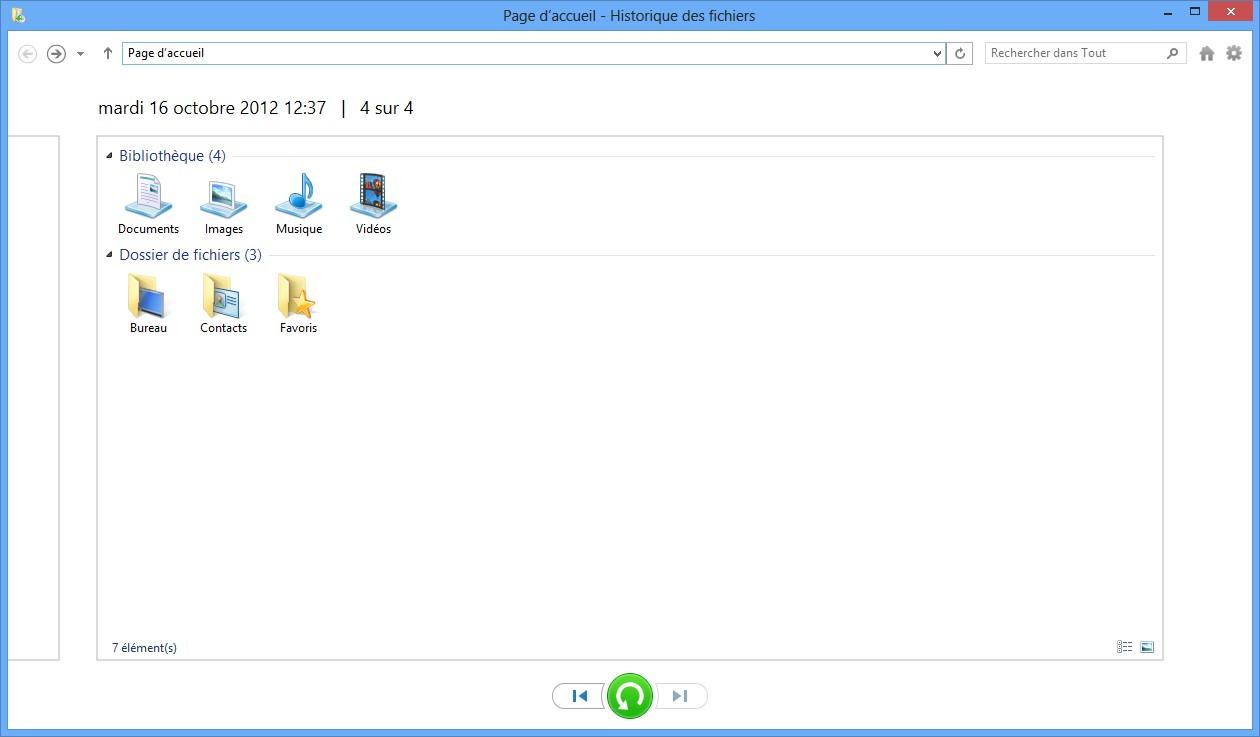restaurer fichiers historique de fichiers