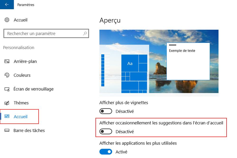 windows 10 afficher suggestions ecran accueil