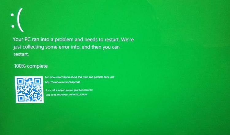 """Dans Windows 10 insiders les """"écrans bleus"""" deviennent verts !"""