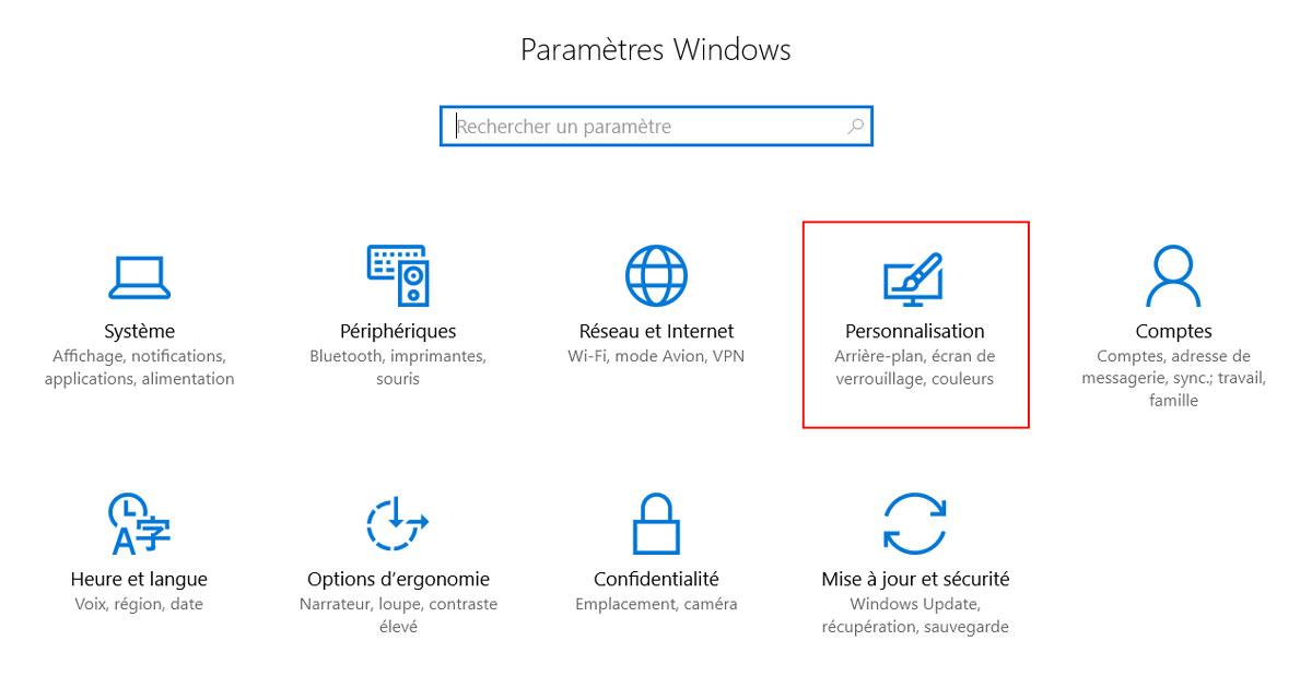 windows 10 parametres personnalisation