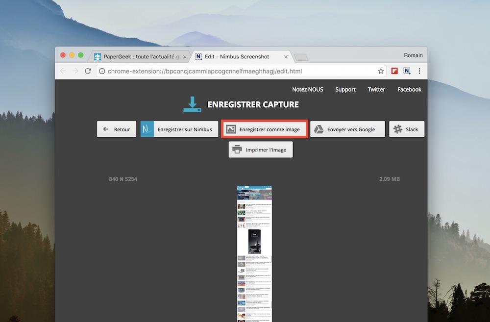 nimbus capture ecran page entiere enregistrer