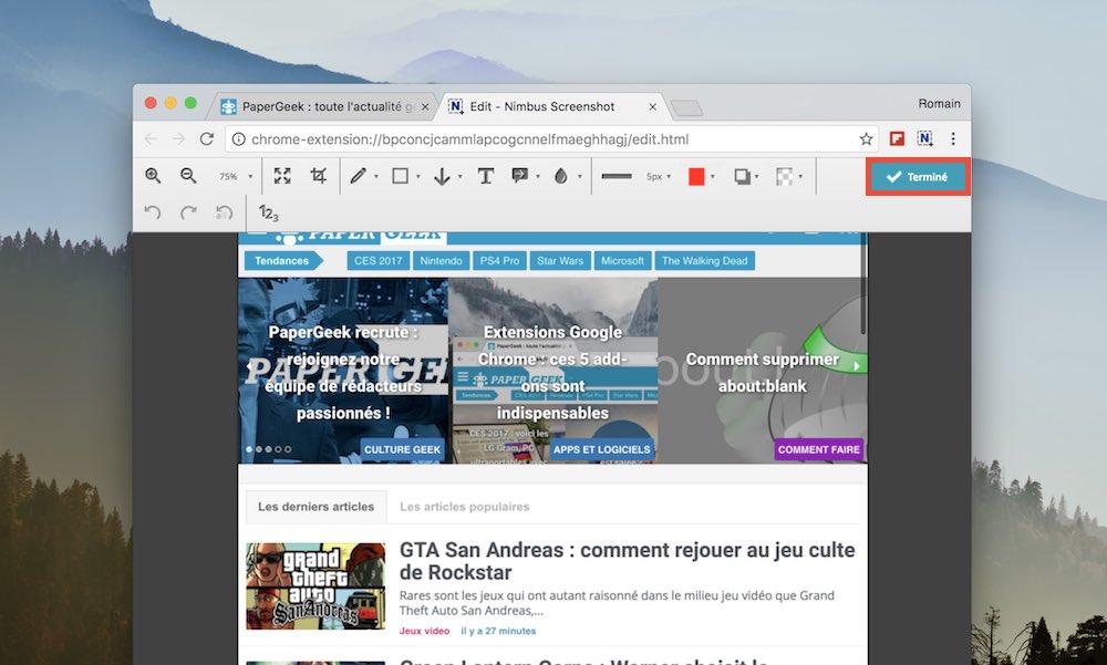 nimbus capture ecran page entiere termine