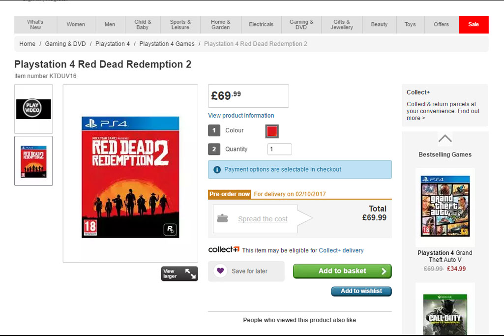 red dead redemption 2 date sortie littlewoods