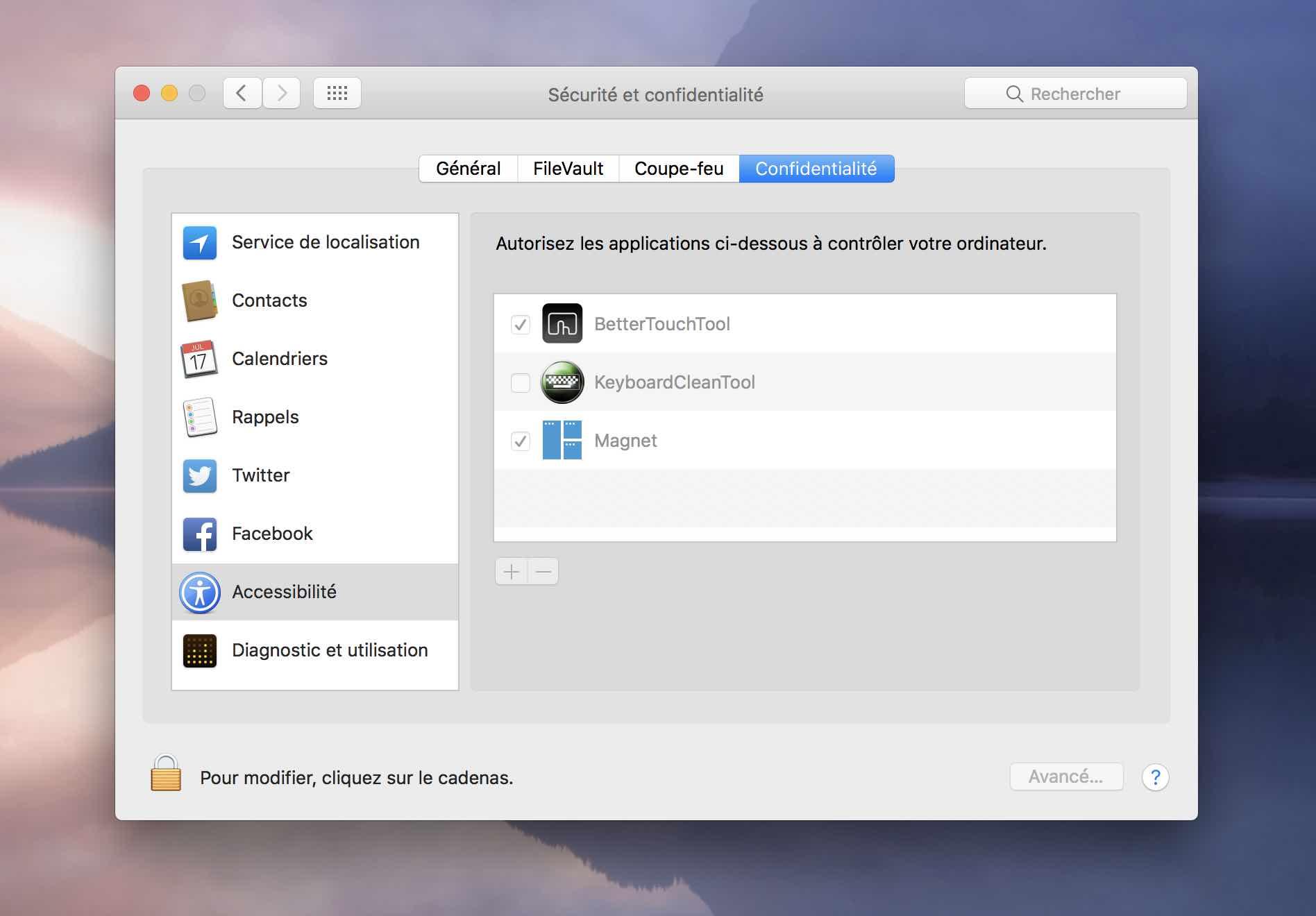 verrouiller clavier keyboardcleantool préférences accessibilité