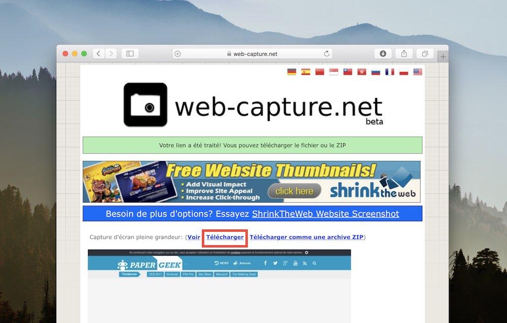 web capture net capture ecran page entiere telecharger