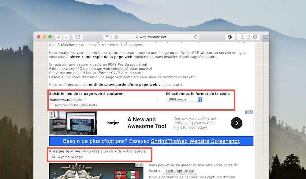 web capture net capture ecran page entiere