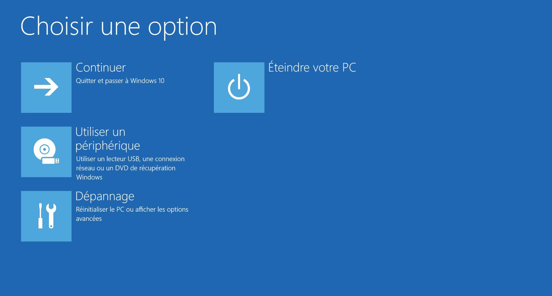 windows 10 demarre plus choisir option récupération