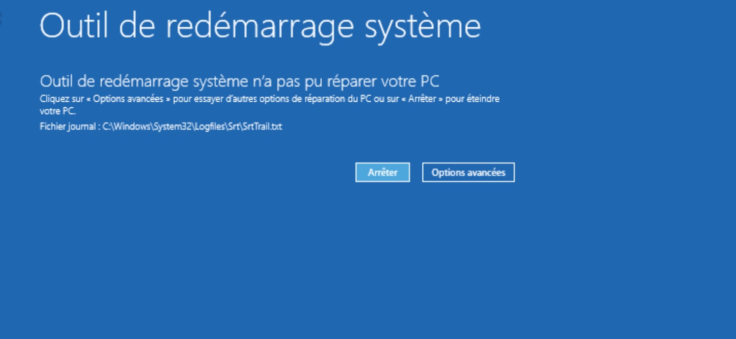 windows 10 demarre plus outil redemarrage systeme