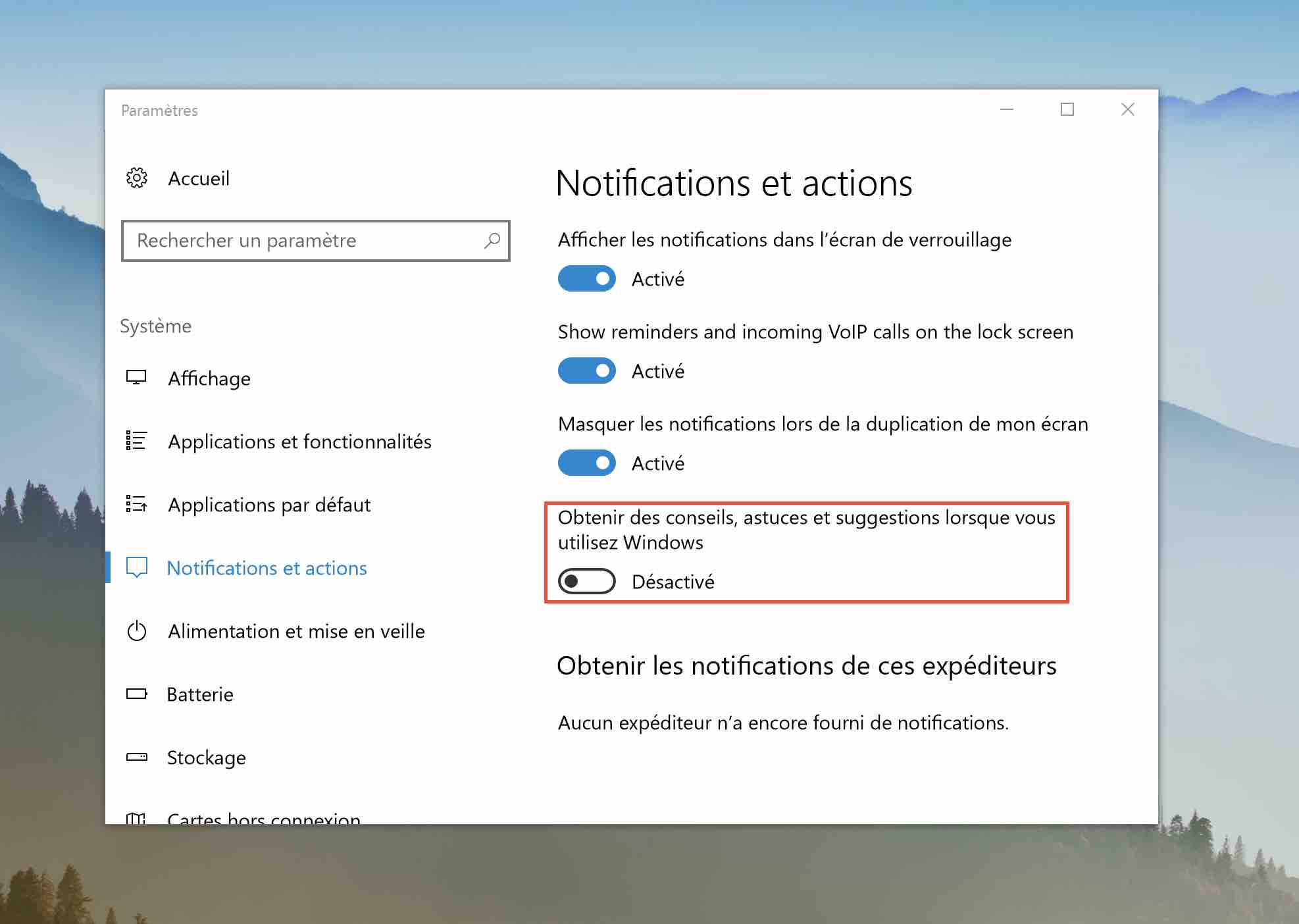 windows 10 desactiver notifications