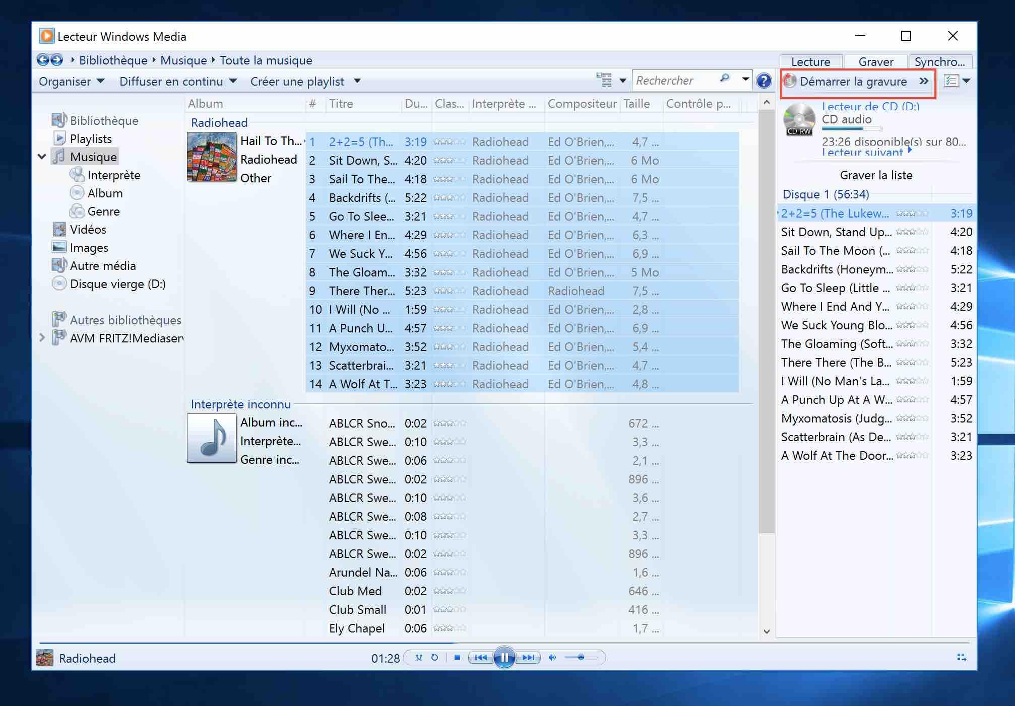 Si vous souhaitez graver vos fichiers MP3 sur un CD pouvant être lu sur un ordinateur et tous les lecteurs de CD, lecteurs de DVD et autoradios, vous devez utiliser Windows Media Player pour télécharger vos fichiers MP3 sur un CD audio (fonctionne également pour WMA et Windows Media Player).