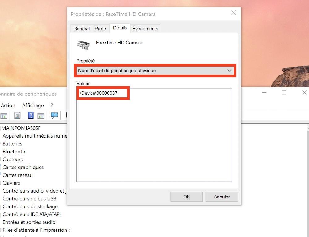 comment savoir webcam pirateee nom objet périphérique physique