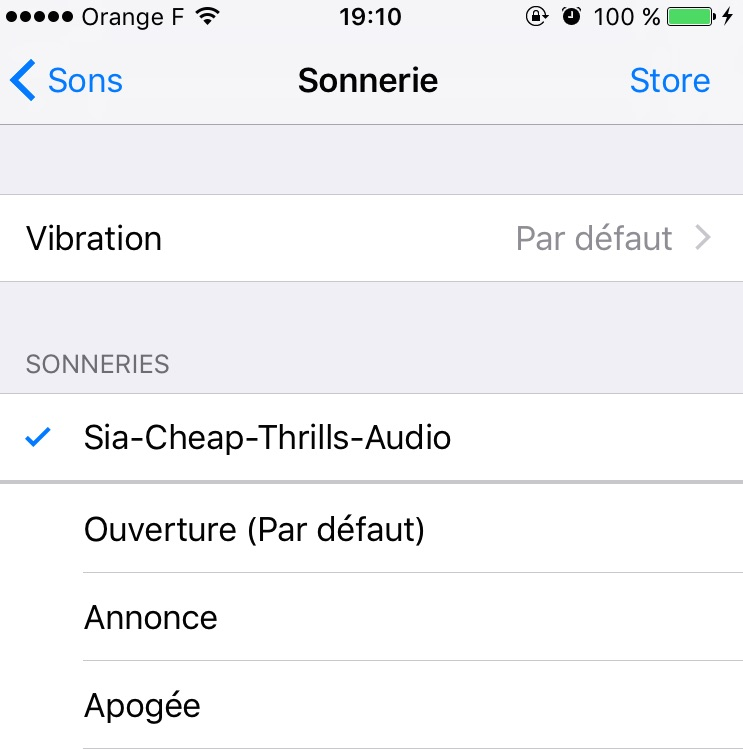 iPhone sonnerie