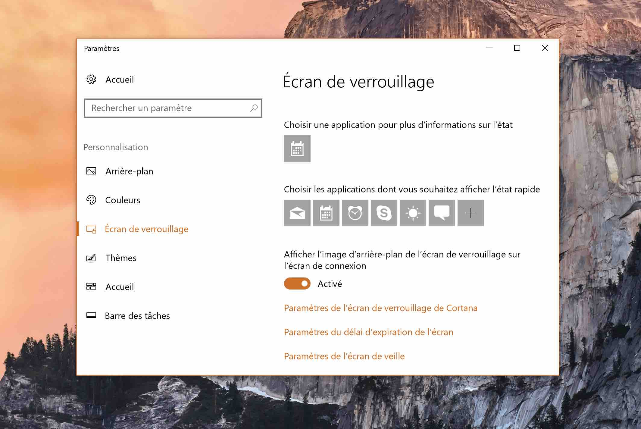 windows 10 parametres ecran verrouillage applications
