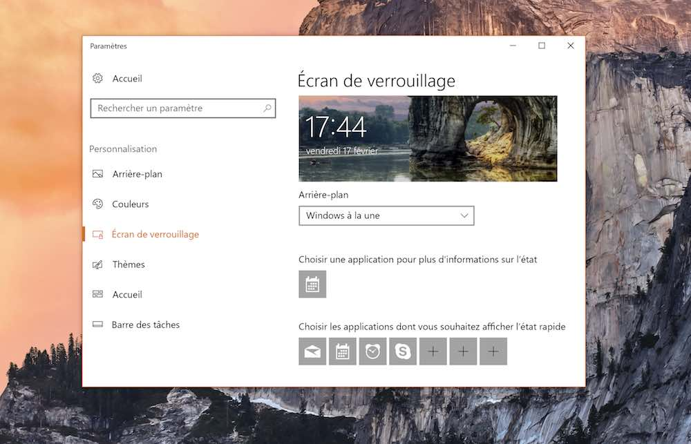 windows 10 personnaliser ecran verrouillage