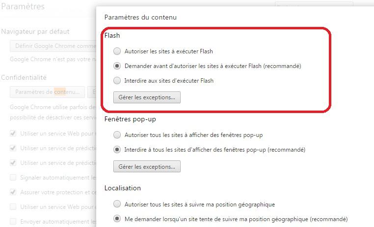 Désactiver flash Chrome