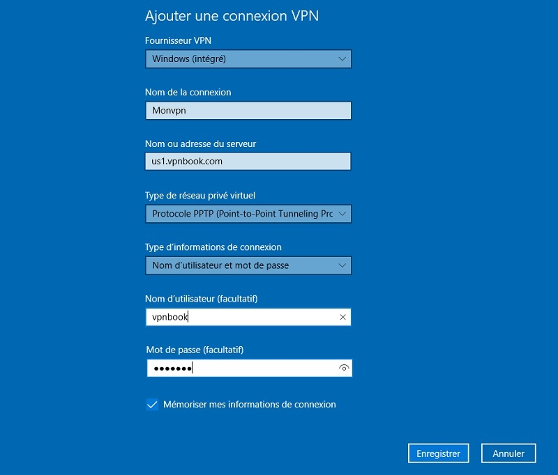Configuration connexion vpn windows