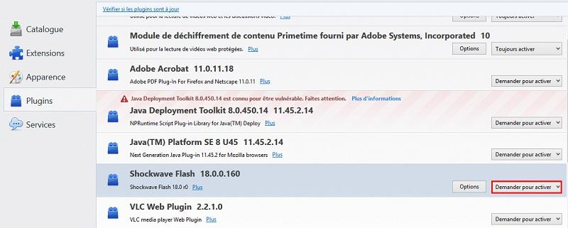 Désactiver flash Firefox
