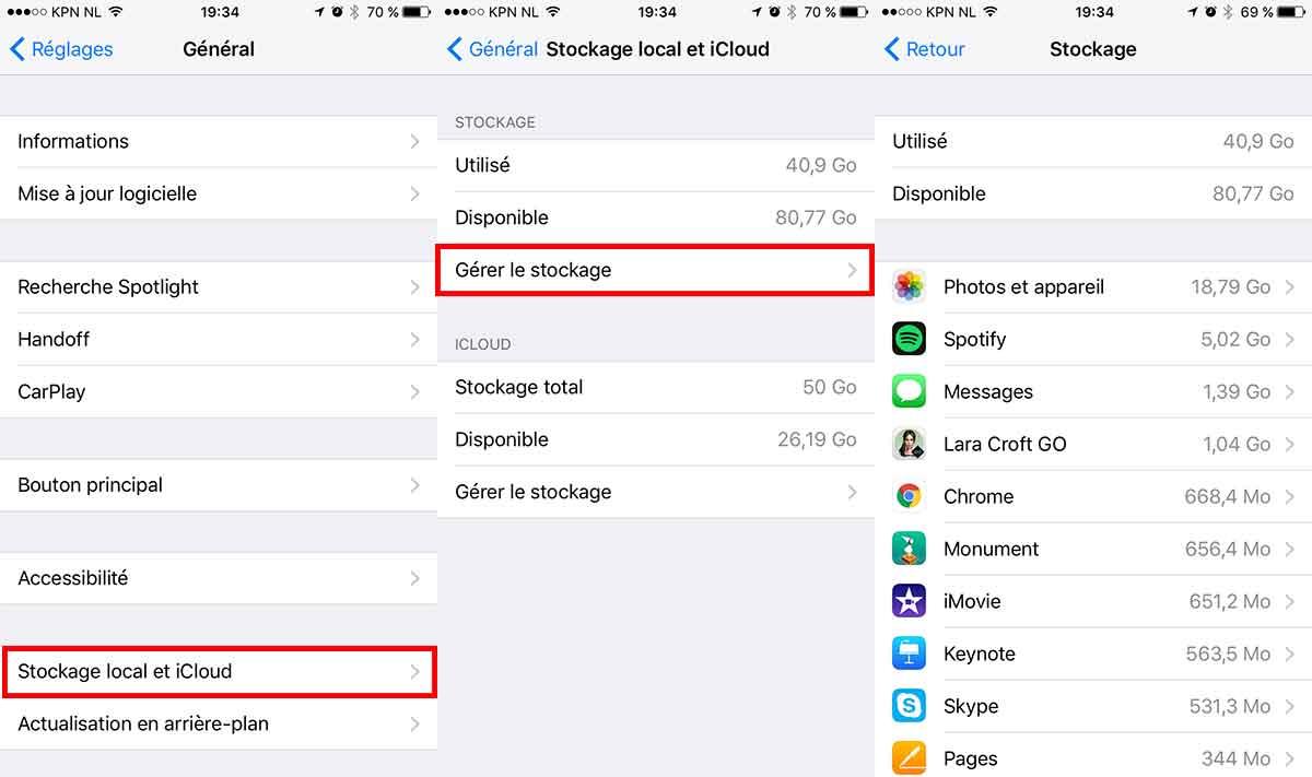 iphone gerer storage