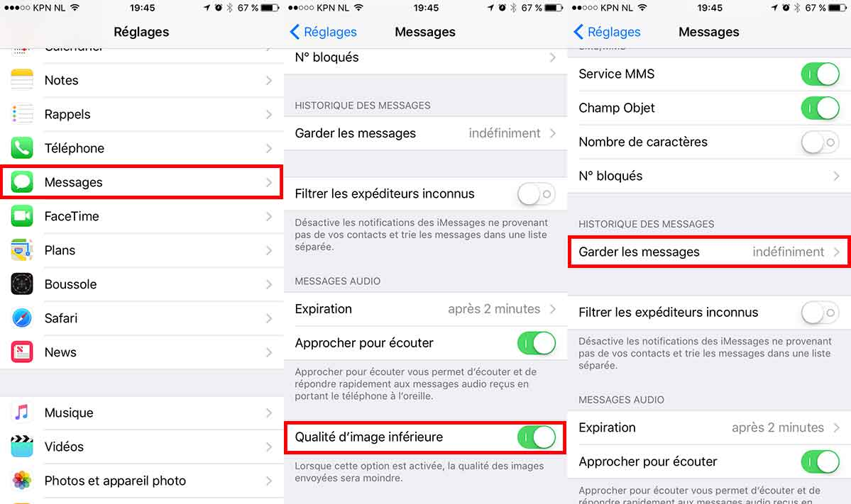 messages reduire espace stockage